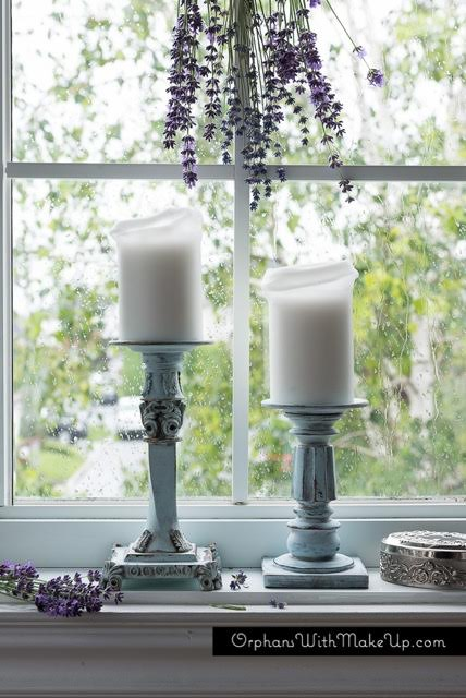antique distressed candlesticks - refurbished goodwill find painted with eco-friendly DIY furniture paint and furniture glaze by Country Chic Paint