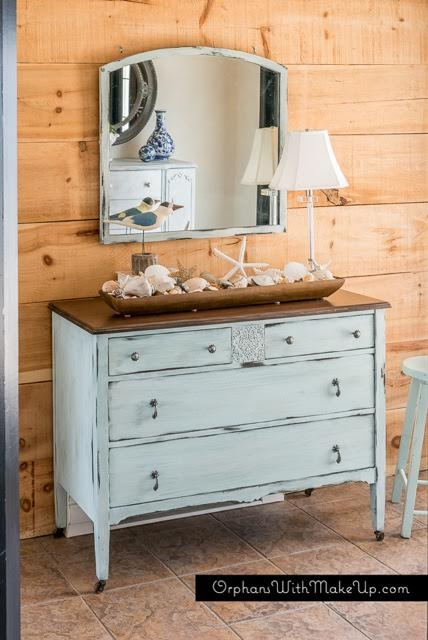 coastal blue distressed dresser embossed stencil detailing painted with eco-friendly DIY furniture paint by Country Chic Paint