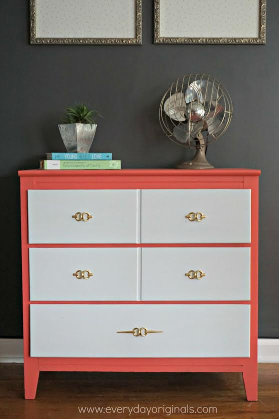 modern white and coral dresser painted with eco-friendly DIY furniture paint by Country Chic Paint