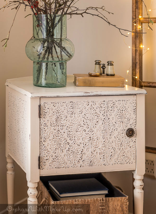 shabby chic embossed damask stencil off white end table painted with eco-friendly DIY furniture paint by Country Chic Paint