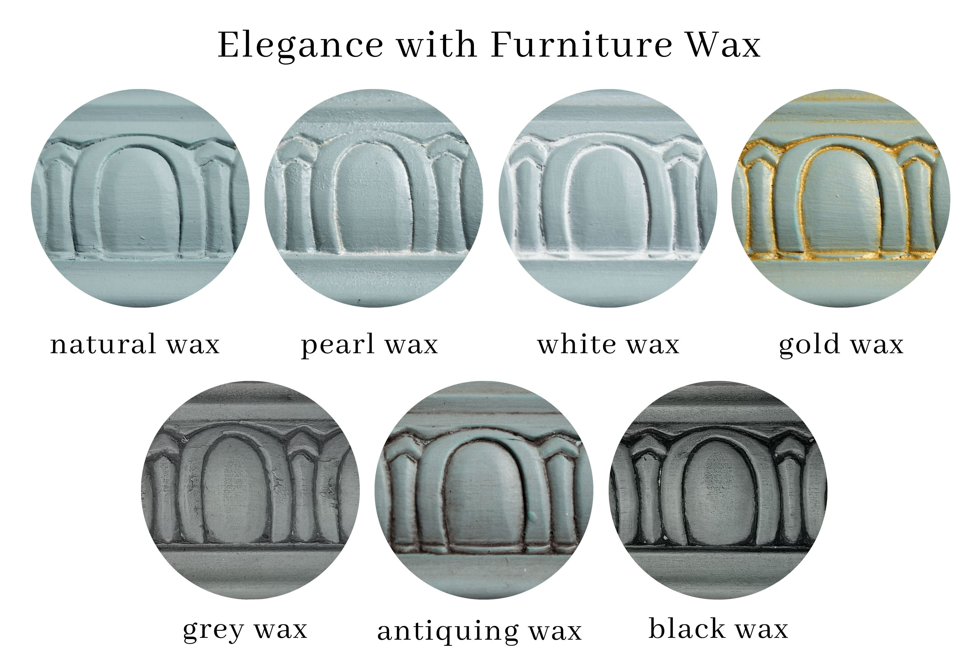 samples of elegance all-in-one decor paint with seven different furniture wax color finishes