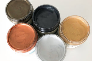 Metallic Cream - With our environmentally-friendly, water-based Metallic Cream you can add beautiful metallic effects to your projects to give them just a touch of extra charm! Metallic Cream comes in 4 oz size containers and is available in 5 beautiful colors: Silver Bullet (silver), Pocket Watch (gold), Belt Buckle (bronze), Lucky Penny (copper) and Trigger (pewter).