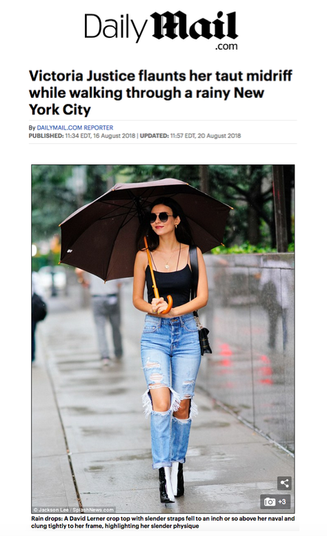 Daily Mail - Victoria Justice in David Lerner Asymmetrical Strap Bralette