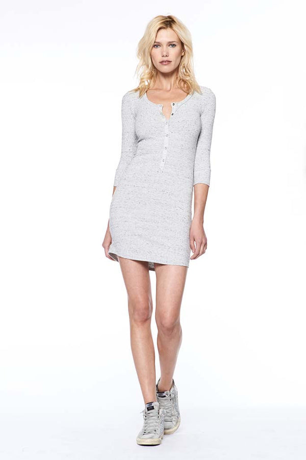 Heavy Rib Henley T Shirt Dress