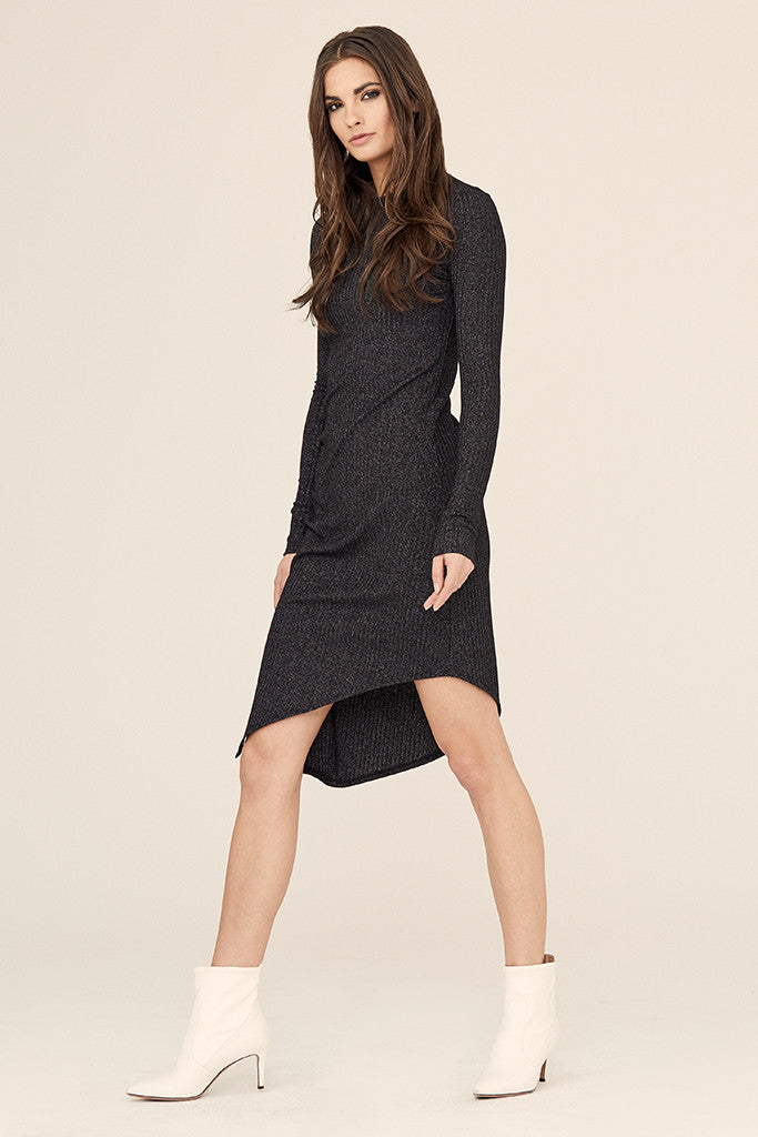 Lurex Asymmetrical Ruched Dress