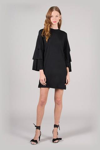 Tiered Ruffle Bell Sleeve Dress