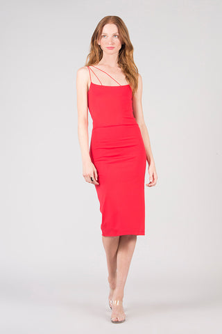 Asymmetrical Strap Midi Dress