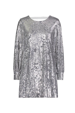Sequin Bishop Sleeve Open Back Dress