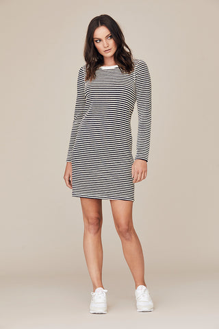 Stripe Terry Long Sleeve Dress