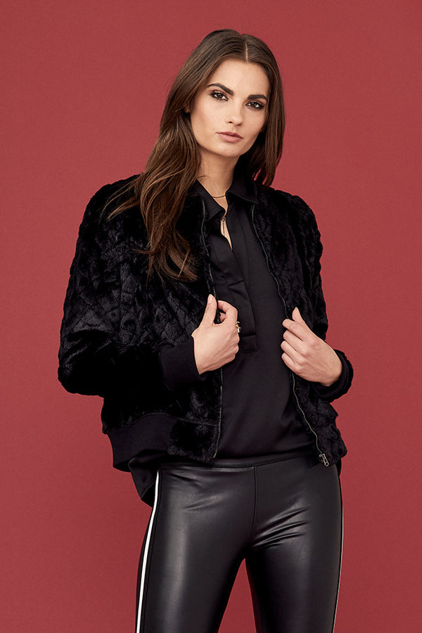 Quilted Faux Fur Bomber Jacket