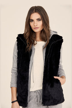 Quilted Faux Fur Zip-Up Vest