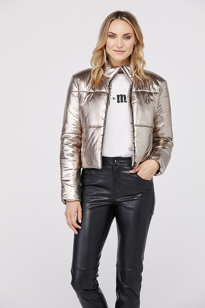 Bella Metallic Crop Puffer