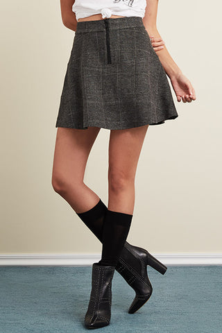 Stretch Plaid Front Zip Waverly Skirt