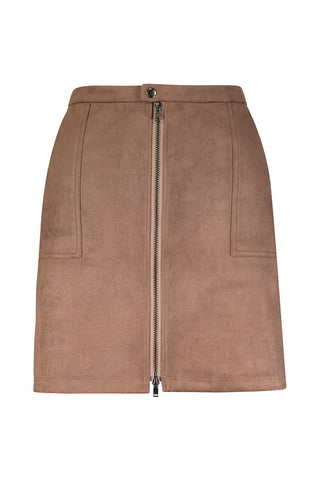 Front Zip Cargo Skirt in Micro Suede