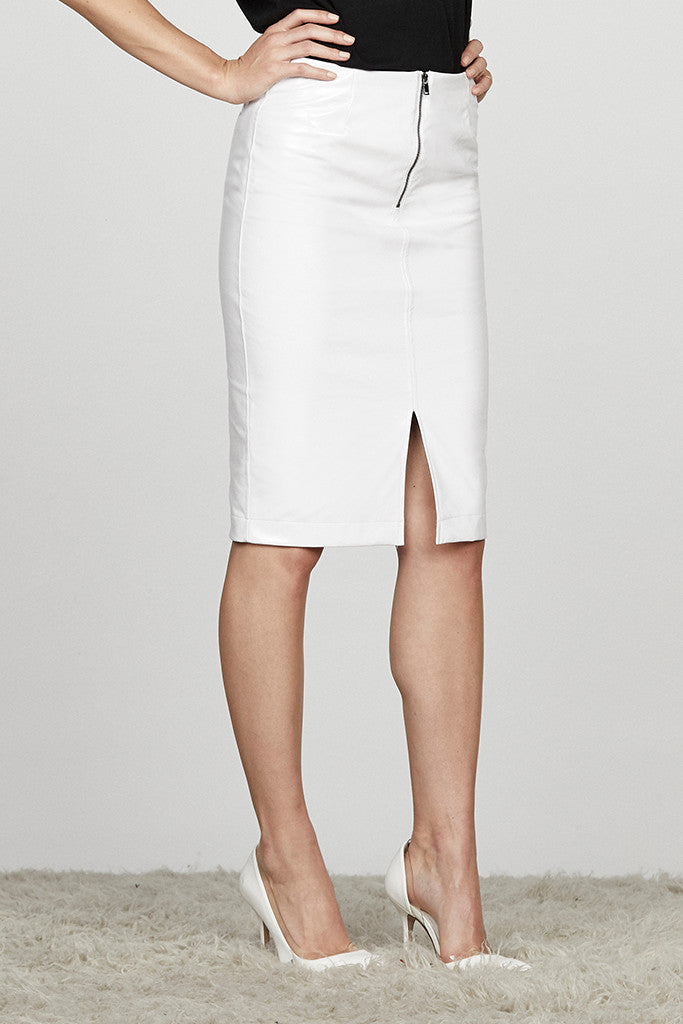 Vinyl Pencil Skirt w/ Front Slit