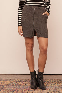 Stretch Plaid Zip Front Cargo Skirt