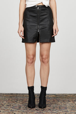 Front Zip Cargo Skirt in Vegan Leather