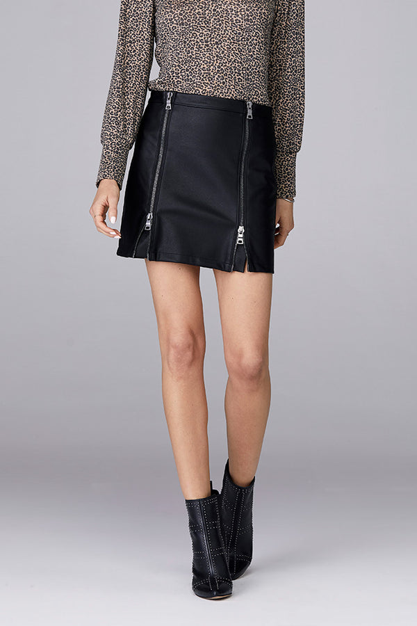 Double Front Zip Skirt