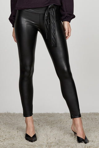 Belted High Waisted Vegan Leather Legging
