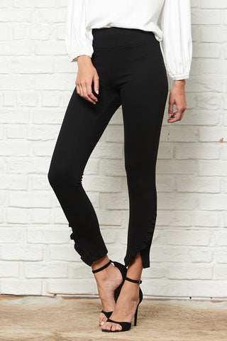 Mid Rise Legging with Ruffle Detail