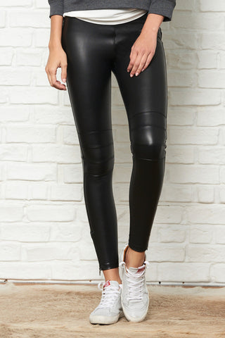 Vegan Leather Ankle Zip Moto Legging