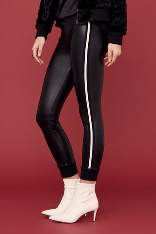Keily Cuffed Legging in Vegan Leather