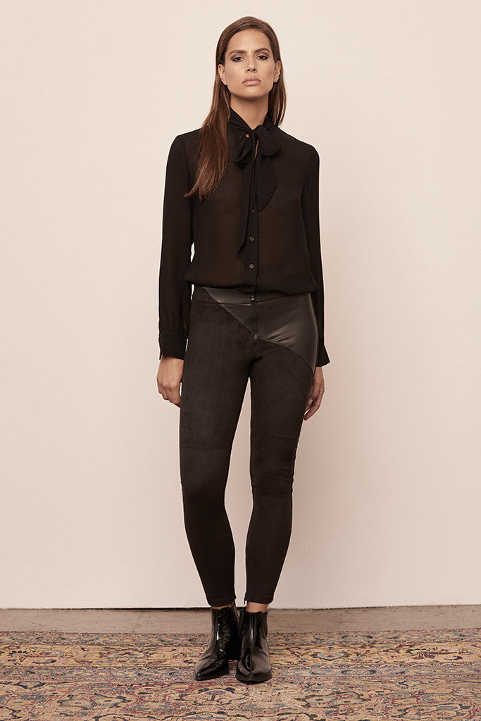 Faux Leather & Suede Combo Front Zip Legging