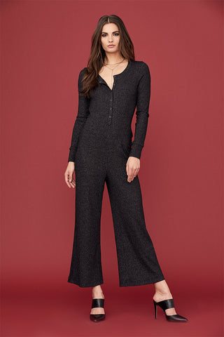 Lurex Henley Wide Leg Jumpsuit
