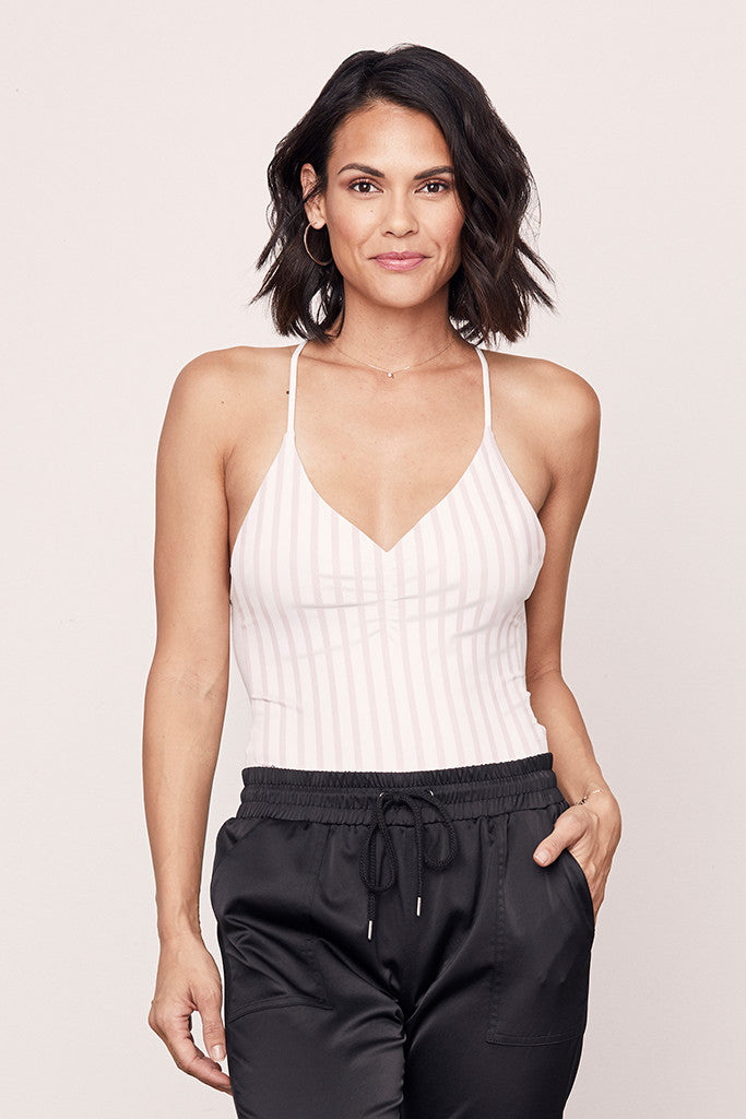 Striped Elle Front Ruched Bodysuit