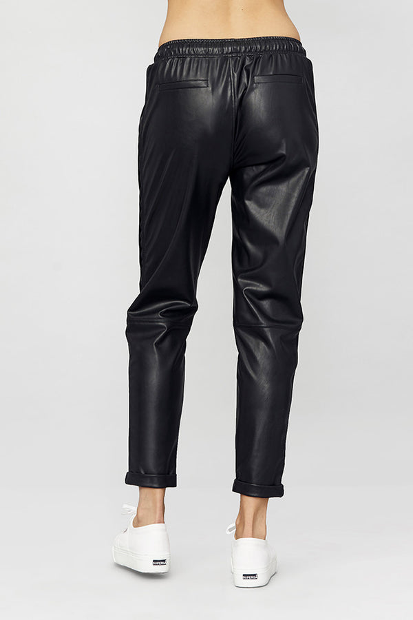 Tapered Vegan Leather Track Pant