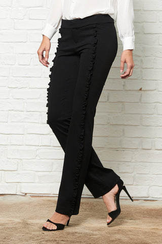 Straight Leg Ruffle Dress Pant
