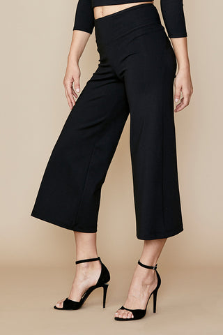 Wide Leg Crop Pant with Seamed Corset Back