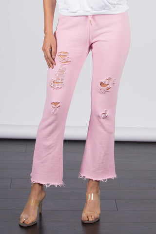 Distressed Cropped Flare Lounge Pant
