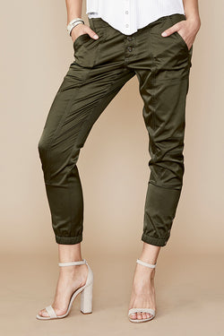 Ankle Snap Trouser in Shiny Twill