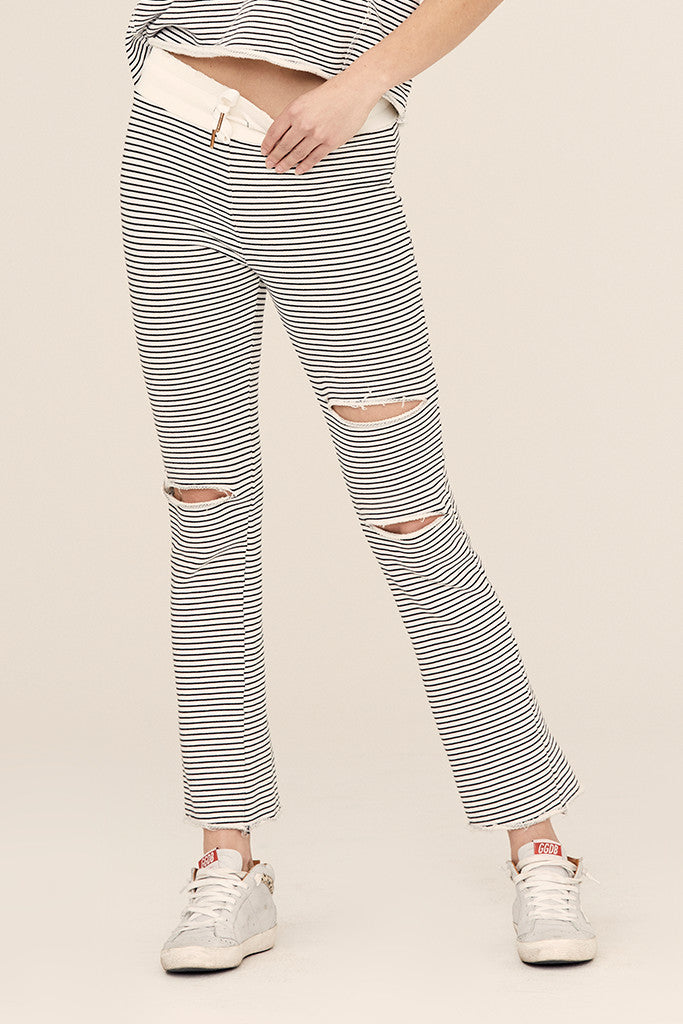 Stripe French Terry Ripped Flare Lounge Pant