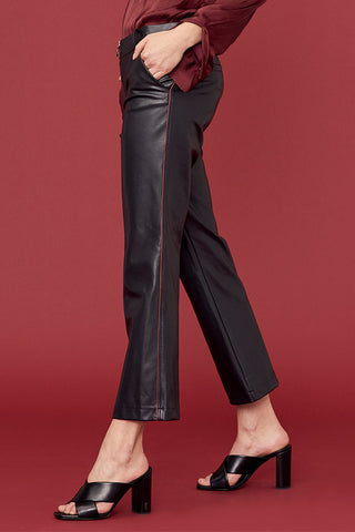 O-Ring Zip Cropped Flare Pant w/Piping