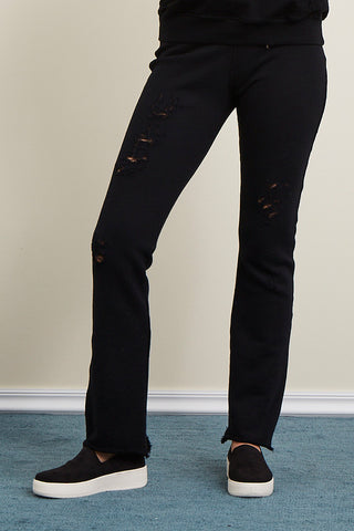 Distressed French Terry Skinny Flare Pant