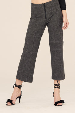 Stretch Plaid Varick Wide Leg Skimmer