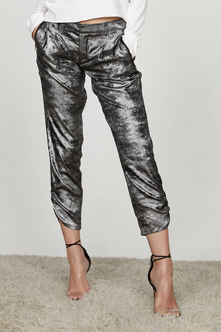 Silky Metallic Ruched Ankle Jogger