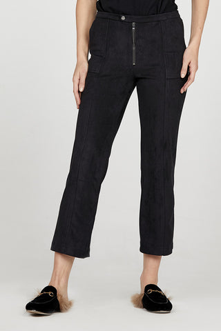 Pintuck Crop Straight Leg Trouser in Micro Suede
