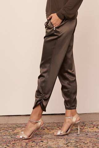 Satin Ruched Ankle Jogger