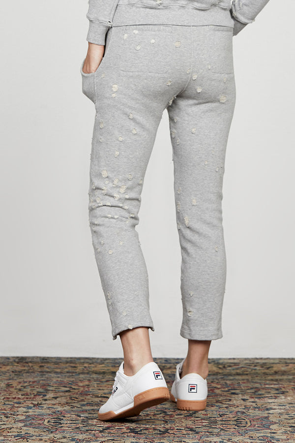 Distressed French Terry Step Hem Pant