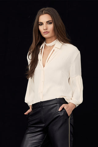 Collared Pleated Sleeve Blouse