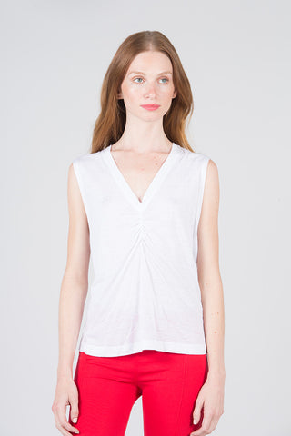 Sleeveless Boxy Tank w/Ruching