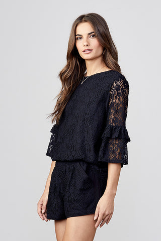 Lace Back Zip Ruffle Sleeve Top