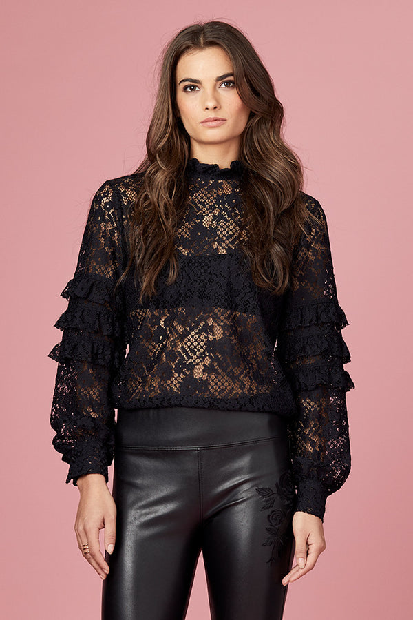 Lace Tiered Ruffle Sleeve Blouse