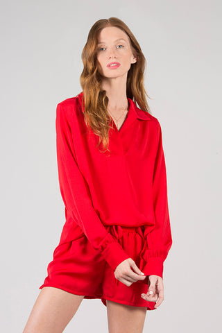 Crinkle Poly Silk Collared Henley Blouse