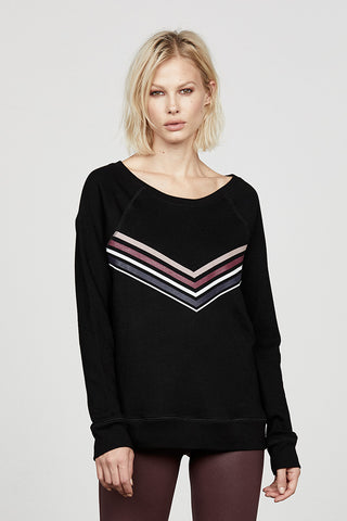 Black Chevron French Terry Pullover
