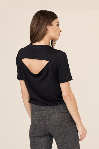 Draped Cut-out Back Tee