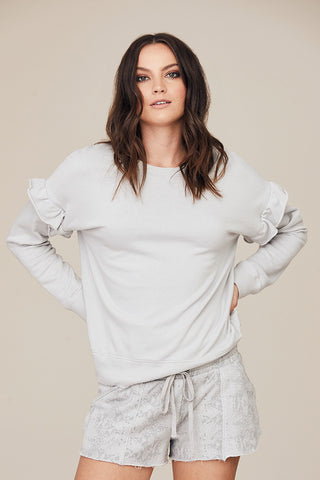 Drop Shoulder Ruffle Pullover